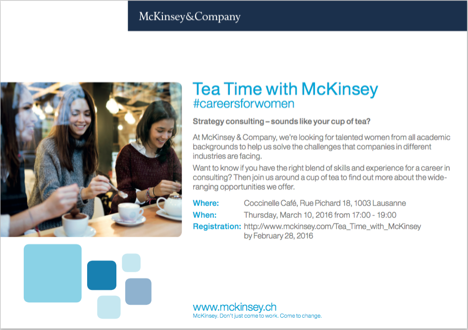Tea Time with McKinsey #careersforwomen. March 10th, 2016