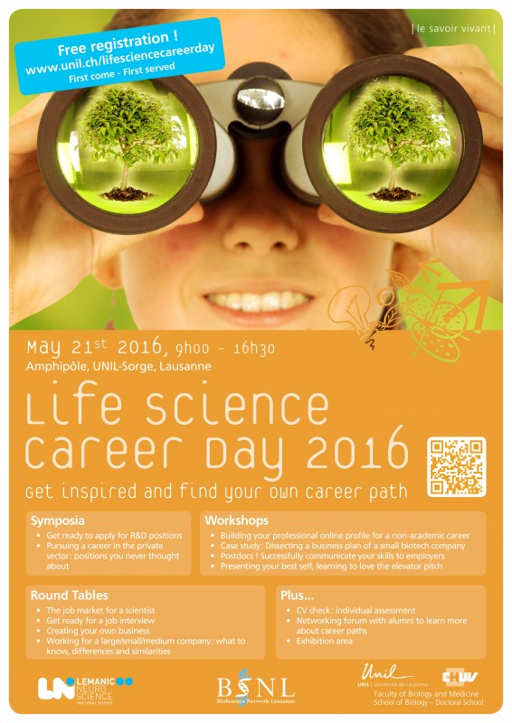 Registration to the Life Science Career Day is open! May 21st, 2016