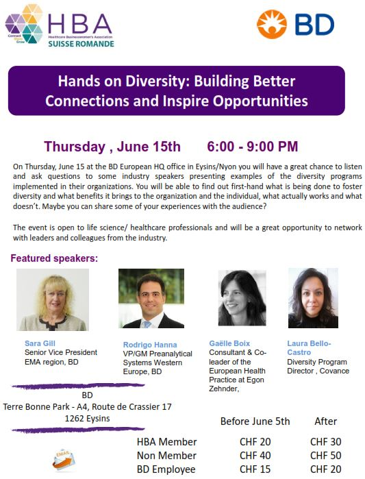 "BSNL Recommends: ""Hands on Diversity: Building Better Connections and Inspire Opportunities"". June 15, from 6pm at Eysin."